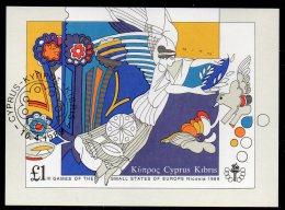 Engel Sport-Spiele Nikosia 1989 Zypern Block 14 O 5€ Lorbeer-Kranz Taube Blumen Blocchi M/s Bloc Flowersheet Bf Cyprus - Chypre (République)