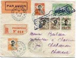 INDOCHINE LETTRE PAR AVION RECOMMANDEE AVEC GRIFFE PREMIER VOYAGE POSTAL PAR AVION INDOCHINE-FRANCE - Airmail