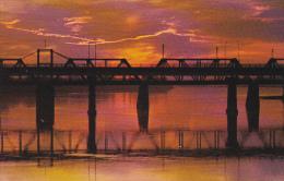 Canada Sunset View Of Railway and Traffic Bridges Prince Albert