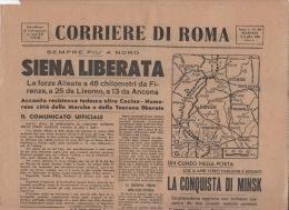^ GIORNALE QUOTIDIANO CORRIERE DI ROMA SIENA LIBERATA CECINA FIRENZE LIVORNO ANCONA MINSK   35 - Non Classificati