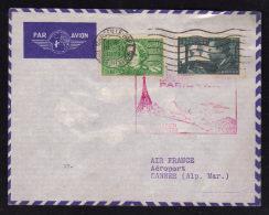 16.02.1938 -  Inauguration Ligne Postale Aérienne PARIS - NICE...escale De CANNES - Postmark Collection (Covers)