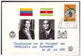 Surinam / Suriname 1978 Postcard Staatsbezoek President Venezuela Visit President Of Venezuela - Surinam