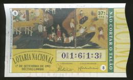 Loterie PORTUGAL 17.09.1993 Art Namban Portugal Japon Loteria Lottery Namban Art Japan - Billetes De Lotería