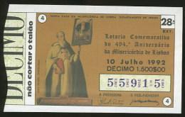 Loterie PORTUGAL Frei Miguel Contreiras 10.07.1992 Loteria Lottery - Billets De Loterie