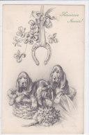 CARD  CANI BASSOTTI BUON ANNO FERRO DI CAVALLO QUADRIFOGLIO M.M.VIENNE .M.MUNK.N°592 -FP-VDB-2-0 882-18835 - Dogs