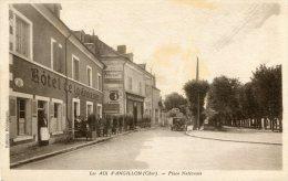 CPA 18 LES AIX D ANGILLON PLACE NATIONALE 1933 - Les Aix-d'Angillon