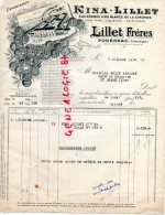 33 - PODENSAC - FACTURE KINA LILLET - VINS GIRONDE- A M. BARDARY CAFE DU COMMERCE A SAINT AMAND MONTROND-1954 - Frankreich