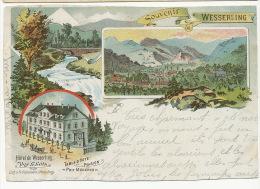 Souvenir Wesserling Gruss Litho 1900 Hotel G. Gotz Litho Gabelmann Strasbourg Defauts - Other Municipalities