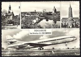 CP-PHOTO  ANCIENNE- FRANCE- AVIATION- LA CARAVELLE S.E. 210 AU DECOLLAGE- TRES GROS PLAN- VUES DE TOULOUSE- - 1946-....: Moderne
