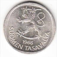 FINLANDIA 1966 1 MARKKA  DE PLATA.  .PESO 7 GRAMOS(LEY 900/1000) NUEVA SIN CIRCULAR.CN 4078 - Finlandia