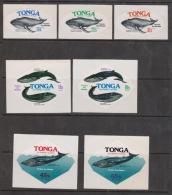 Tonga 1977 Whale Protection Self Adhesives Part Set 7 Mint - Tonga (1970-...)