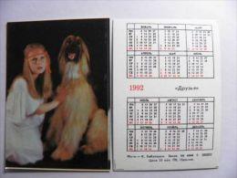 Small Calendar From Russia 1992 Year, Animal Fauna Dog Friends Girl - Kalender
