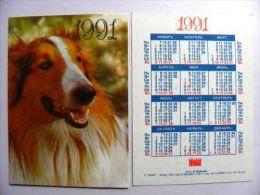 Small Calendar From Russia 1991 Year, Animal Fauna Dog - Kalender