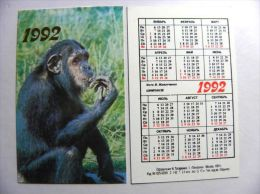 Small Calendar From Russia 1992 Year, Animal Fauna  Monkey Chimpanzee, - Kalender