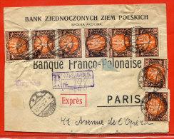 POLOGNE LETTRE RECOMMANDEE PAR EXPRES DE 1922 DE VARSOVIE POUR PARIS FRANCE(FROISSURES) - 1919-1939 République