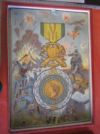 1918 Originele In Oude Doos Prachtstaat  Jigsaw PLASTER  Lithography , 3 Such  Puzzle  Medailles Medals Flags  Battles - Toy Memorabilia