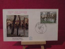 FDC, Oeuvres De Corot, Pont De Mantes La Jolie 78 - Paris- 12.2.1977 - 1er Jour - - FDC