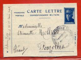FRANCE CARTE LETTRE FRANCHISE MILITAIRE MAL JOFFRE DE 1917 DE CASSIS POUR POUZOLLES - Marcophilie (Lettres)