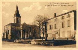 Brioux - L'Eglise, La Mairie, Et Le Monument Aux Morts - Brioux Sur Boutonne