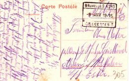"WO 1 . 1914-18 : D Bez In B  ZK (Schaerbeek 8.1.15) + Spoorwegstempel "" BRUXELLES NORD/ 8 JANV 1915 / C RECETTES  3"" - Army: German"