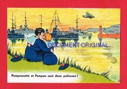 Marine Humoristique... Pomponnette Et Pompon ....( Femme...Homme (s)... Marin (s)...Bateau...) - Barche