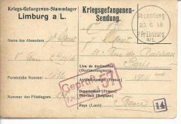 Envoi De Prisonnier  Du Camp De Limburg Sur Carte Dédiée Du Camp Censure Pour Paris - Guerra De 1914-18