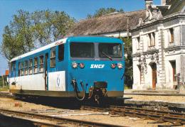 CPM TRAIN GARE VALENCAY CHEMIN DE FER DU BLANC A ARGENT AUTORAIL VERNEY MODERNISE MAI 1999 - Stazioni Con Treni