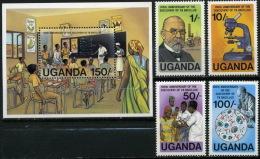 Uganda 1982 #319-322+Bl 32 Robert Koch Science Scientist Medicine Tuberculosis Nobel Prize MNH - Uganda (1962-...)
