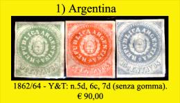 Argentina-001 (1862/64 - Y&T: N.5d, 6c, 7d (sg) NG) - Argentina