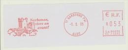 EMA RC 71536 Narbonne Pal Aude + Flamme Narbonne Vivre En Avant ! - Marcophilie (Lettres)