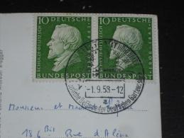 ALLEMAGNE DEUTSCHLAND GERMANY YT 167 X 2 SUR CARTE POSTALE STUTTGART FERNSEHTURM - HERMANN SCHULZE DELITZSCH - - Covers & Documents