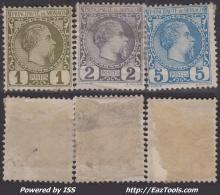 1c 2c Et 5c Charles III De 1885 Neufs * / (*) (Y&T N° 1 à 3 , Cote *: 220€)