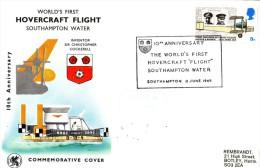 Enveloppe  10éme  Anniversaire  Du  1er  Vol   Par  HOVERCRAFT   SOUTHAMPTON   1969 - Transport