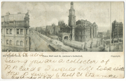 Sydney Townhall And St. Andrew's Cathedral Undivided Back Sent To Denmark 1905 - Sydney