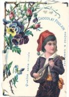 CHROMO - Decoupis Chocolat Poulain Petit Joueur De Mandoline - Musique  -  Chromo Relief - Poulain