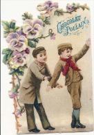 CHROMO - Decoupis Chocolat Poulain -  Jeux D'enfants  (sur La Glace ??)      -  Chromo Relief - Poulain