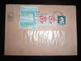 LETTRE TP CENTRE 0,25F X2 + AUCH 0,05F X2 + VIGNETTE PALISSY OBL.MEC. 1-5-1976 METZ GARE (57 MOSELLE) - Marcofilia (sobres)