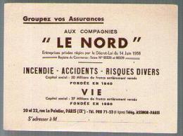 Buvard Assurances Le Nord Rue Le Peletier Paris - Incendie Accidents Risques Divers - Carte Assorbenti