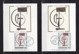 """2 CM En Soie De 1988 FRANCE / DANEMARK N° YT 2551 + 931 """" HOMMAGE A LEON DEGAND """" De ROBERT JACOBSEN. - Emissions Communes"""