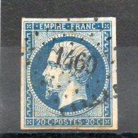 FRANCE    20 C   Napoléon III    Année 1854    Y&T: 14Af    Bleu Foncé  (oblitéré) - 1853-1860 Napoléon III