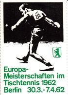 TABLE TENNIS-PING PONG-TISCHTENNIS-TENNIS DE TABLE, VIGNETTE, BR Deutschland 1962, Lightly Hinged, Very Rare !!! - Vignetten (Erinnophilie)