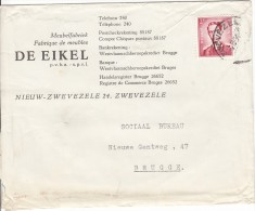 """Brief Zwevezele > Brugge Met Hoofding """"Meubelfabriek DE EIKEL"""" - Bélgica"""
