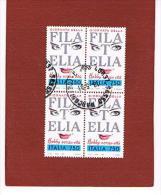 ITALIA  REPUBBLICA - CAT.UNIF.2052 - 1992 GIORNATA FILATELIA: HOBBY SENZA ETA'         IN QUARTINA  USATA (°) - 6. 1946-.. Repubblica