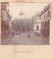 AX- 2 Photos Stereoscopiques 40x45mm Vers 1900. Louviers 27 France - Eglise Attelage Chevaux - Photos Stéréoscopiques