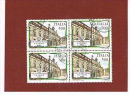 ITALIA  REPUBBLICA - CAT.UNIF.1837  - 1988  LICEO VISCONTI  DI ROMA        IN QUARTINA  USATA (°) - 6. 1946-.. Republic