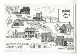 CPM      LA CARTE BRIARDE   CSCE     DESCENTE DE L AUBETIN     1983 1984        DESSIN DE C. LEPOIVRE LEVY - Bourses & Salons De Collections