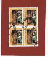 ITALIA  REPUBBLICA - CAT.UNIF. 1969  - 1991 PRESEPE DI RIVISONDOLI -  QUARTINA  USATA (°) - 6. 1946-.. Republic