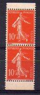 Semeuse N° 135d Neuf **/* - Paire Verticale De Carnet Avec Bords - Infime Trace De Charnière Sur Le Haut - Cote 60€ - 1906-38 Semeuse Camée