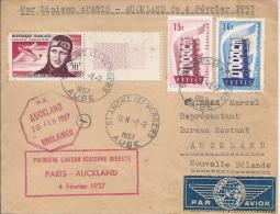 Premiere Liaison Aérienne Directe, Paris - Auckland, 4 Février 1957 - Airmail