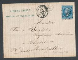 Lettre De Saint-Vallier-sur-Rhône Pour Montpellier En 1865 - Cachet OR + GC 3882 - Marcophilie (Lettres)